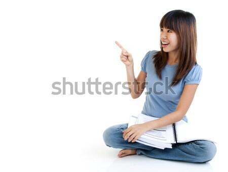 Сток-фото: азиатских · студент · сидят · полу · указывая