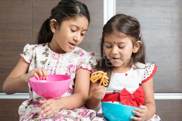 Stock photo: Children eating snacks