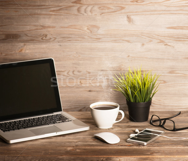 Office interior wooden working table Stock photo © szefei
