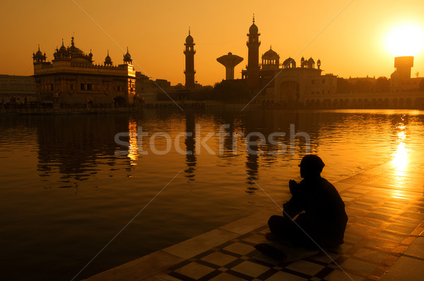 Sikh pilgrims at Golden Temple India Stock photo © szefei