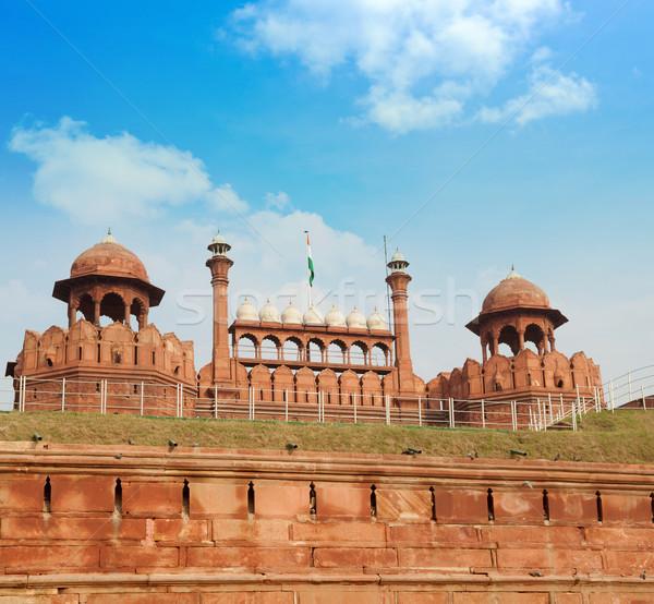 Piros erőd Delhi India citadella égbolt Stock fotó © szefei