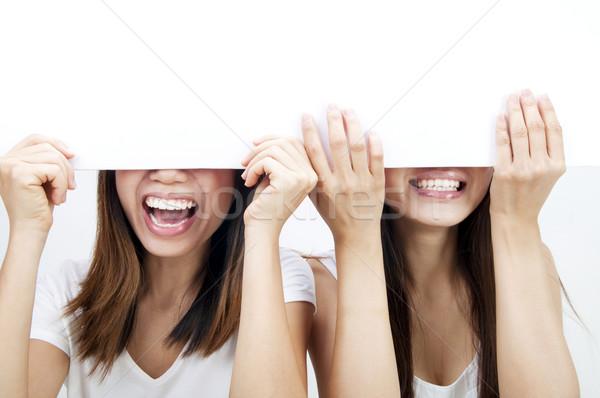 Puste papieru reklama Fotografia asian kobiet Zdjęcia stock © szefei