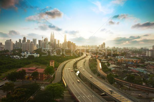Kuala Lumpur ufuk çizgisi gün batımı Malezya Bina Stok fotoğraf © szefei