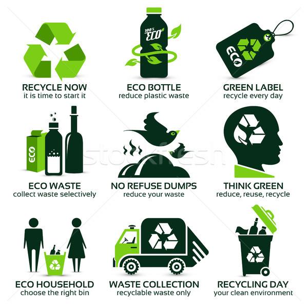 Recycling drop schaduw natuur ontwerp Stockfoto © szsz
