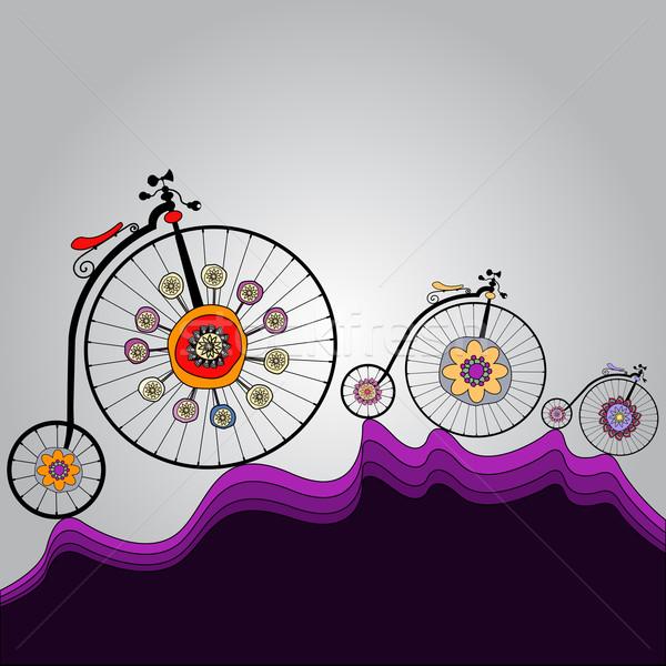 Geluk rond wereld oude kleurrijk fietsen Stockfoto © szsz