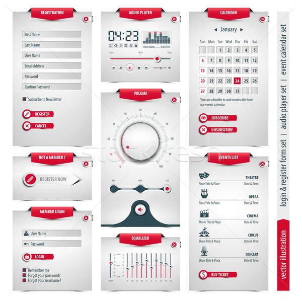 Web design communie ui onderdelen inloggen audio Stockfoto © szsz