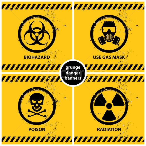 Ingesteld grunge gevaar banners vier officieel Stockfoto © szsz