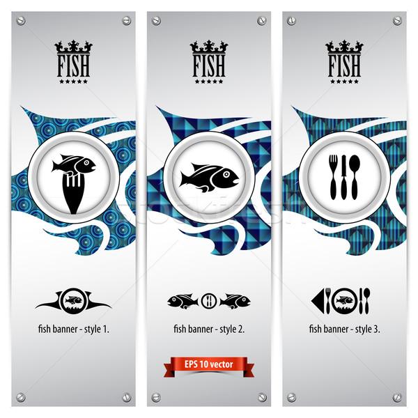 Vis banners drie verschillend meetkundig ontwerpen Stockfoto © szsz