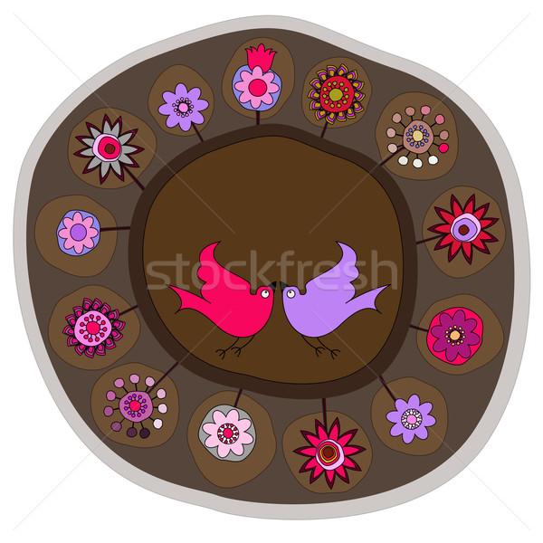 Décoratif plaque fleurs oiseaux espace arbre Photo stock © szsz