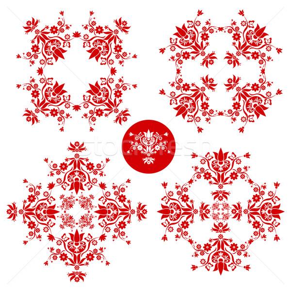 Floral décoration rouge blanche Pâques mariage Photo stock © szsz