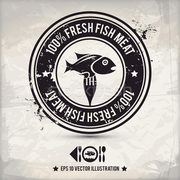 Alternativa pesce etichetta rosolare timbro Foto d'archivio © szsz