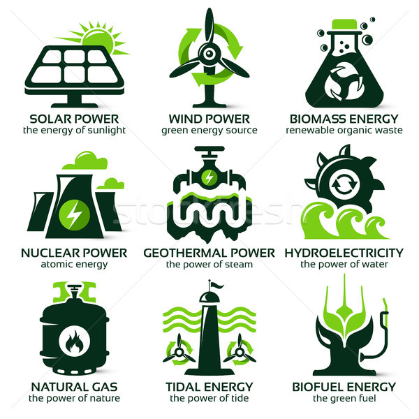 flat icon set for eco friendly alternative energy sources Stock photo © szsz