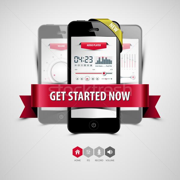 Luisteren muziek smartphone audio speler app Stockfoto © szsz