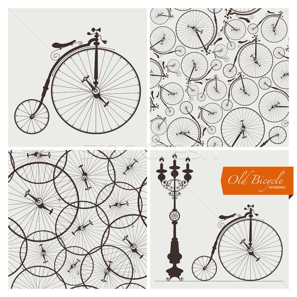 Oude fiets sjablonen eps10 geen Stockfoto © szsz