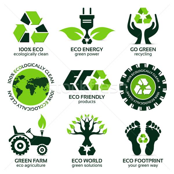 Eco label symbool ingesteld moderne communie Stockfoto © szsz