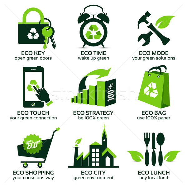 eco flat symbols promoting green lifestyle in the world Stock photo © szsz