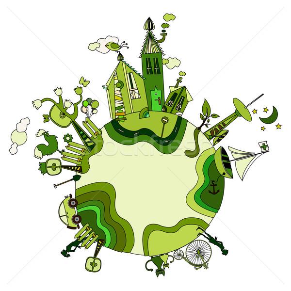 вокруг зеленый bio Мир Cartoon планеты Сток-фото © szsz