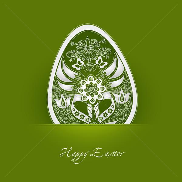 Decoratief easter egg label groene bloem ei Stockfoto © szsz