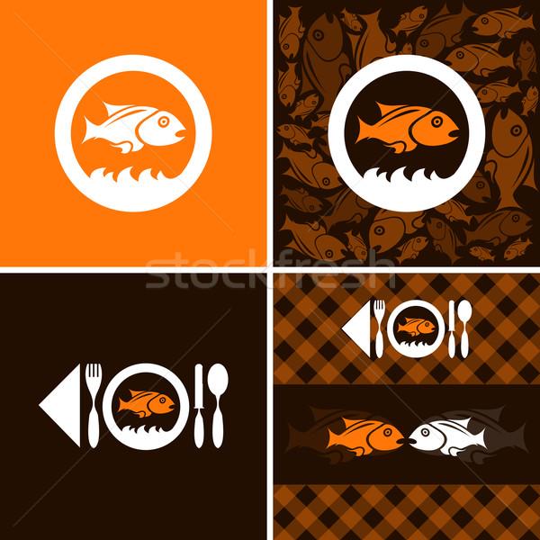 Symbool vis bedrijf oranje witte dier Stockfoto © szsz