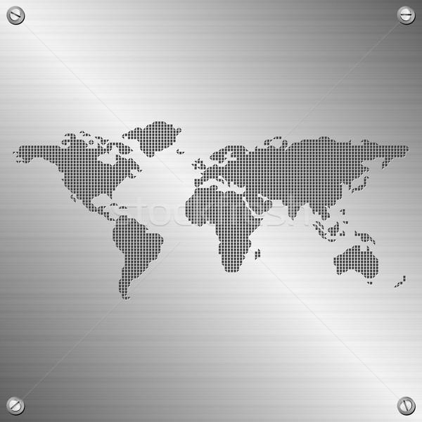 Мир карта иллюстрация нержавеющая сталь бизнеса текстуры аннотация Сток-фото © szsz