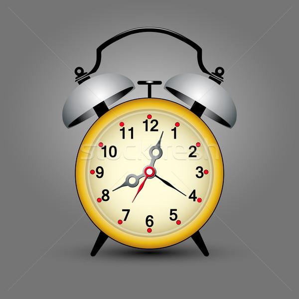 Geel klok retro wekker ruimte hand Stockfoto © szsz
