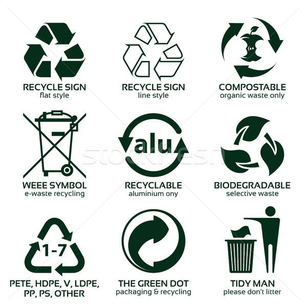 flat icon set for green eco packaging Stock photo © szsz