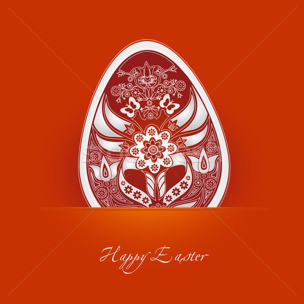 Decoratief easter egg label oranje bloem ei Stockfoto © szsz