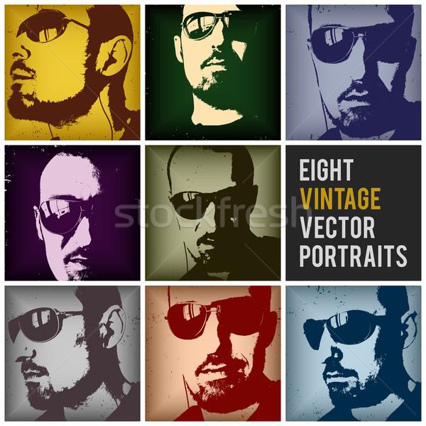 Vintage vector portretten acht verschillend posities Stockfoto © szsz