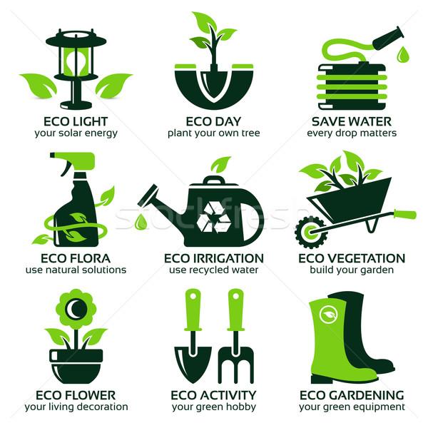 Groene eco tuin drop schaduw Stockfoto © szsz