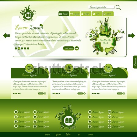 Groene eco website sjabloon aarde boek Stockfoto © szsz
