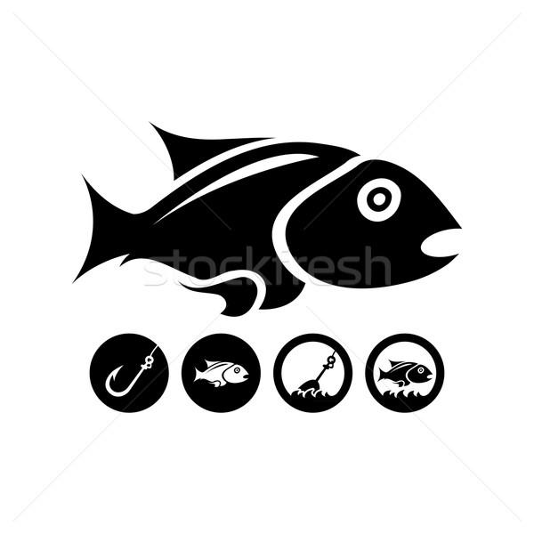 черный изолированный рыбы чистой спорт морем Сток-фото © szsz