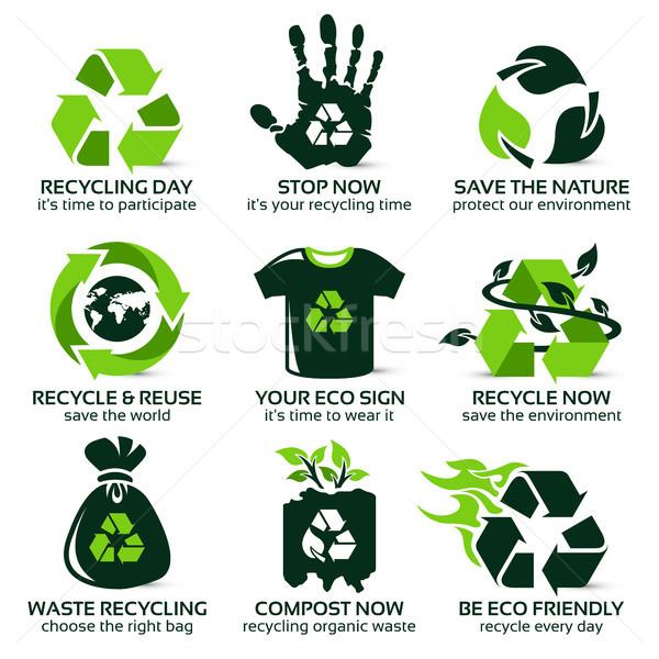 Ikon gyűjtemény környezetbarát újrahasznosítás csepp árnyék tűz Stock fotó © szsz