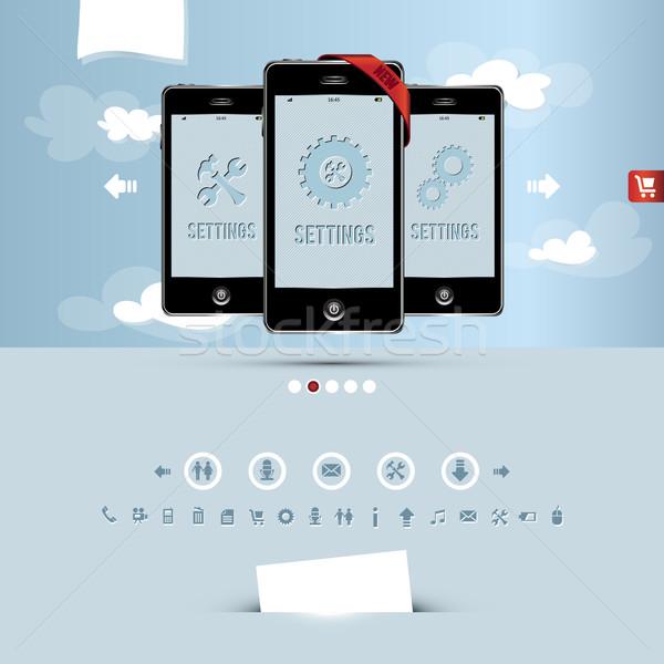 Website sjabloon mobiele telefoon bedrijf internet Stockfoto © szsz