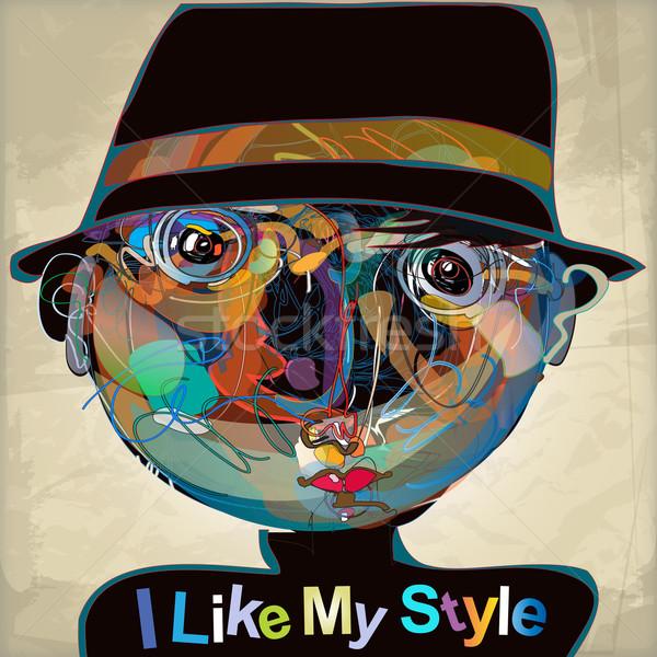Zoals mijn stijl kleurrijk kid portret Stockfoto © szsz