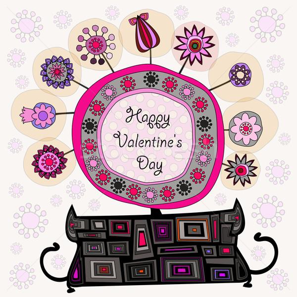 Bloemen pot bloem bloempot Valentijn gelukkig Stockfoto © szsz
