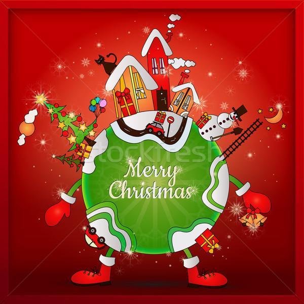 Christmas rond wereld cartoon planeet nacht Stockfoto © szsz