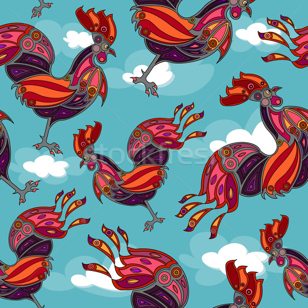 crowing rooster seamless Stock photo © szsz