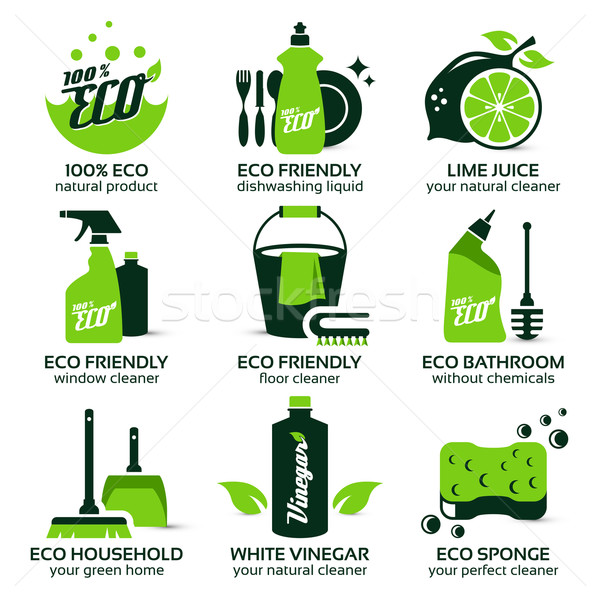flat icon set for green eco cleaning Stock photo © szsz