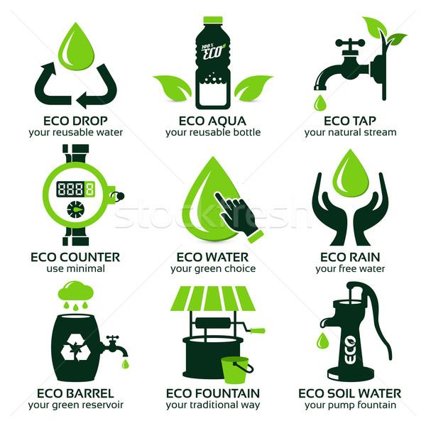Photo stock: Vert · eco · eau · goutte · d'eau · ombre