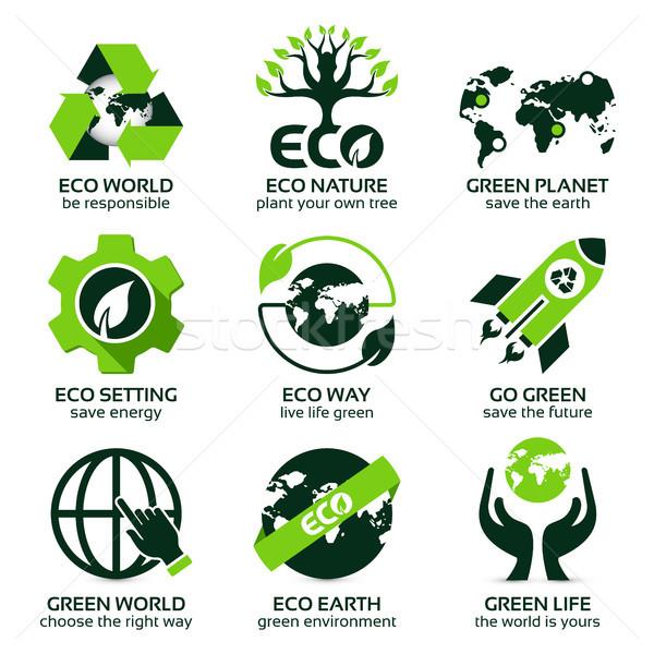 Groene eco planeet wereldbol eerste Stockfoto © szsz