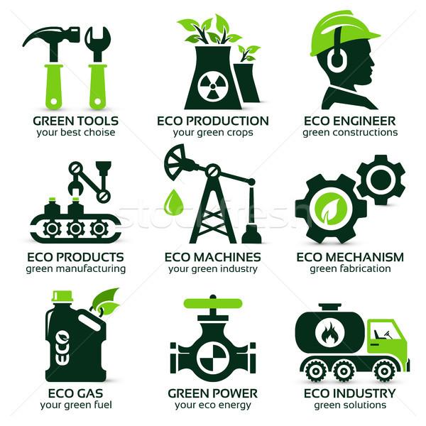 flat icon set for green eco production Stock photo © szsz