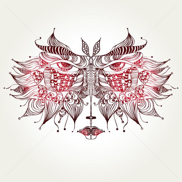 Kat masker geïsoleerd decoratief sjabloon carnaval Stockfoto © szsz