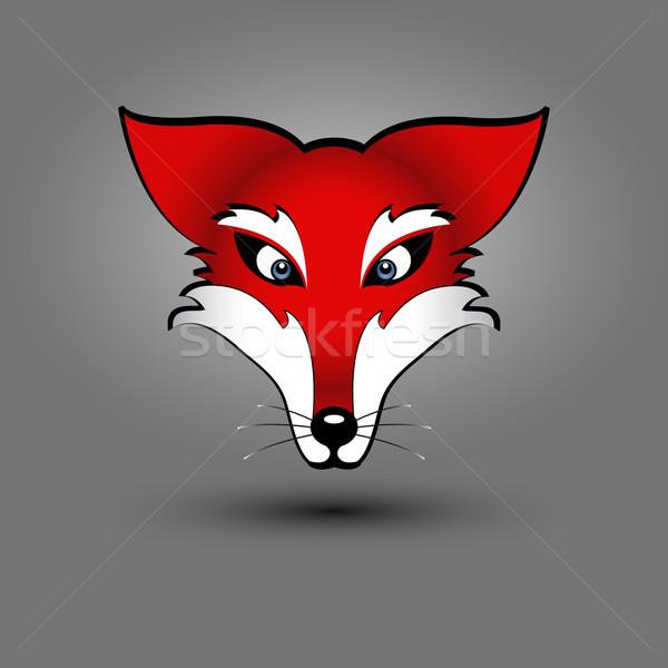 Photo stock: Fox · tête · vecteur · dessin · rouge · affaires