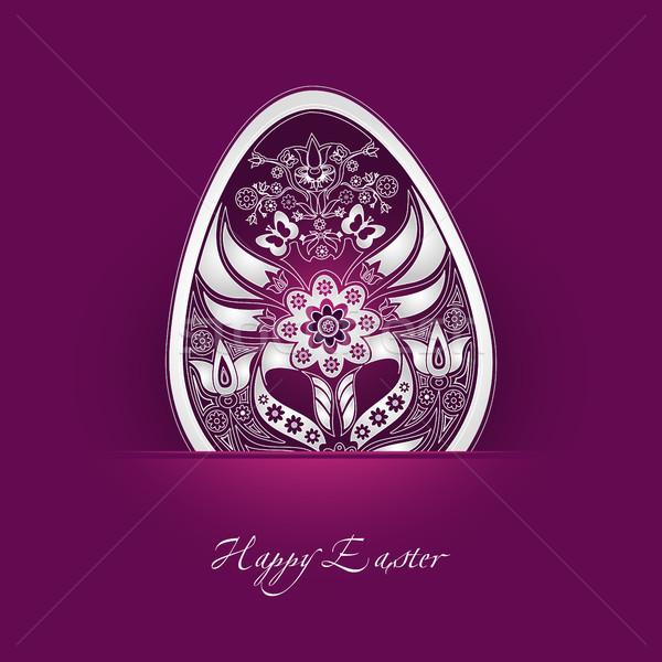 Decoratief easter egg label bloem ei kleur Stockfoto © szsz