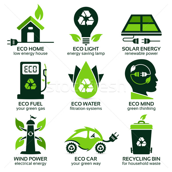 eco flat symbols promoting green lifestyle in the household Stock photo © szsz
