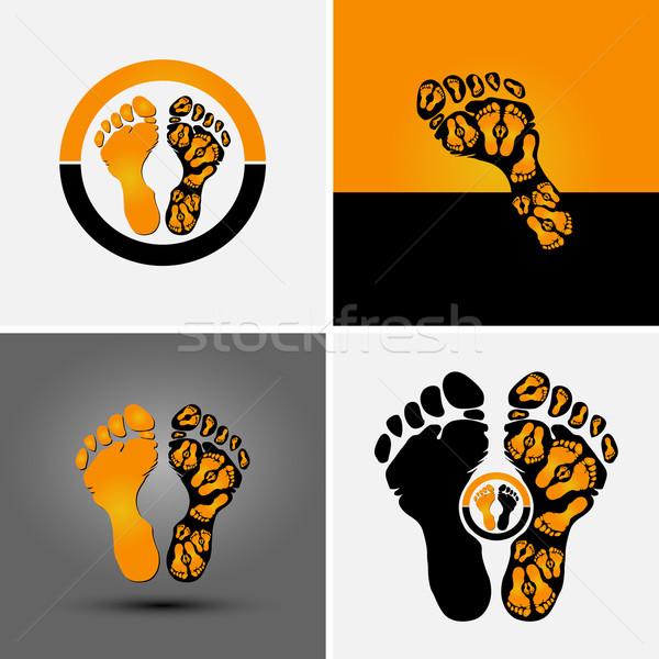 след символ спорт компания дизайна оранжевый Сток-фото © szsz