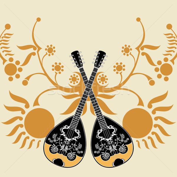 греческий музыкальный инструмент цветы солнце фон танцы Сток-фото © szsz