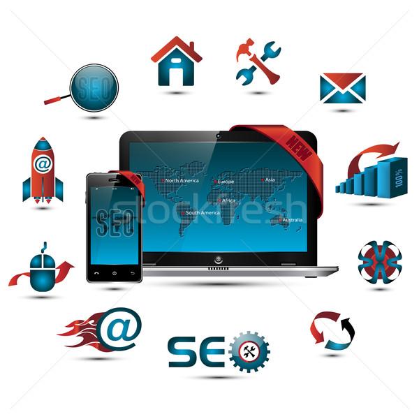 Seo ensemble symboles carte du monde portable Photo stock © szsz