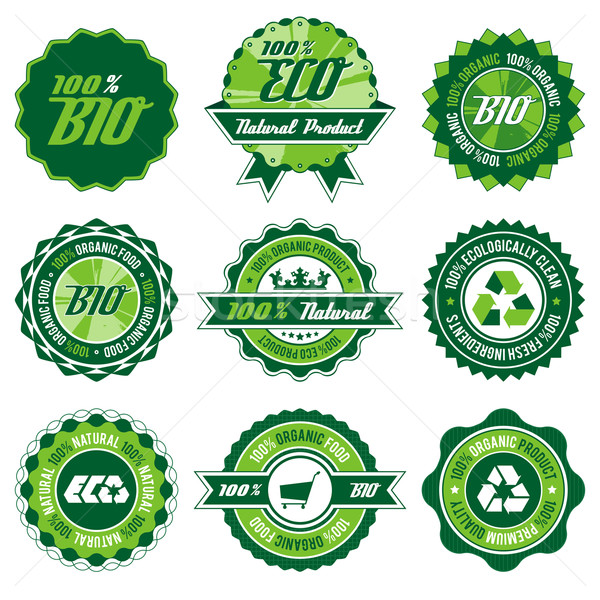 Bio label ingesteld groene eco organisch Stockfoto © szsz