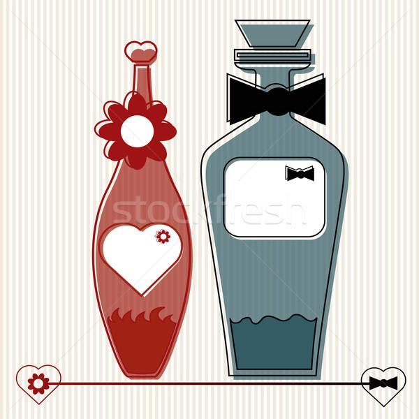 Liefhebbers fles paar bar tabel bloem Stockfoto © szsz